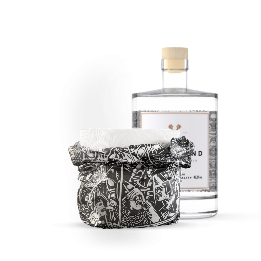 Toilettenpapier mit Woodland Dry Gin Flasche