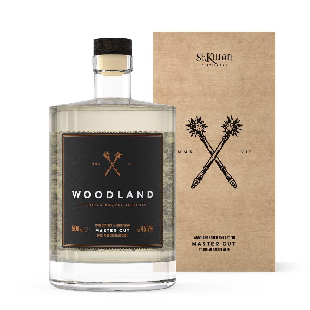 Woodland Sauerland Dry Gin Master Cut Flasche mit Holzkiste