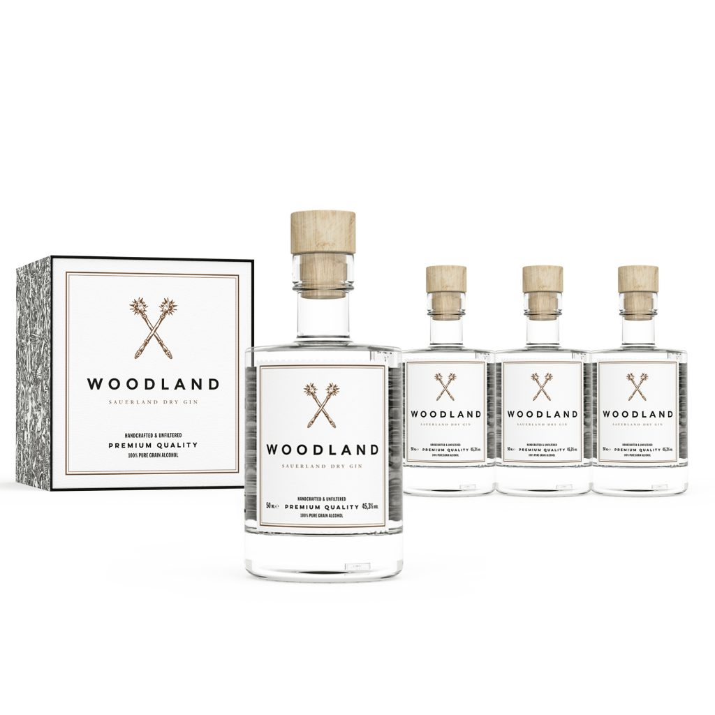 Woodland Dry Gin 4er Miniaturen Box
